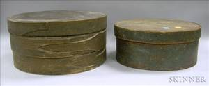 Two Large Round Painted Wooden Pantry Boxes with Covers