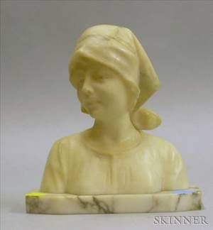 Carved Alabaster Portrait Bust of a Maiden