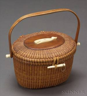 Woven Cane Nantucket Basket Purse