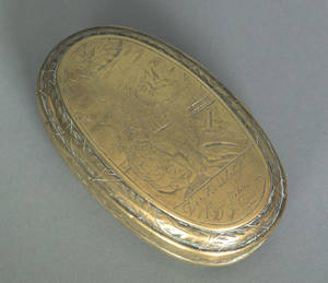 Dutch engraved brass tobacco box late 18th c