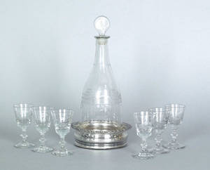 Blown colorless glass decanter ca 1820