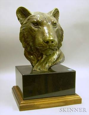 Forest Hart American 20th21st Century Bronze Portrait Bust of a Lion