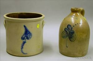 RB Norton  Co Cobalt Floral Decorated Stoneware Jug and a Cobalt Floral Decorated Stoneware Crock