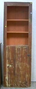 Tall Country Redpainted Wooden Open Cupboard