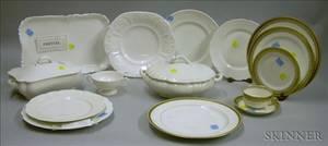 Fortysix Piece Haviland Limoges Gilt Porcelain Table a Set of Eight Haviland Limoges Gilt Porcelain Plates a