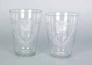 Pair of large Stiegel type etched colorless glass flips ca 1800