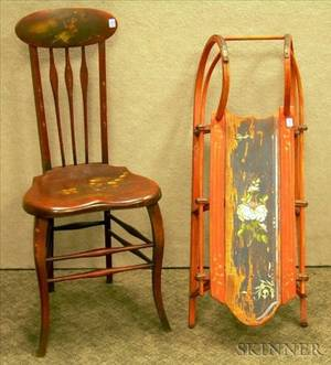 Childs Polychrome Decorated Ironmounted Wooden Sled and a Late Victorian Paint Decorated Music Chaire2