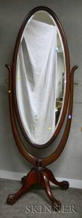 Georgianstyle Carved Mahogany Cheval Mirror with Beveled Glass