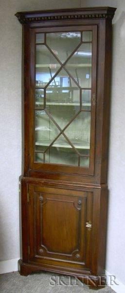 George III Glazed Beechwood and Mahogany Twopart Corner Cupboard