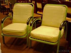 Pair of Simmons Enameled Metal Lounge Chairs