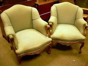 Pair of Frenchstyle Upholstered Carved Walnut Bergere
