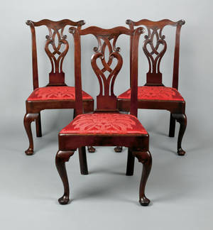 Set of three Pennsylvania Queen Anne walnut dining chairs ca 1765