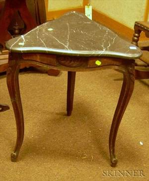 Provincial Louis XV Style Triangular Marbletop Carved Walnut Table