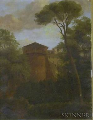 Framed European School Oil on Board Landscape with a Tower