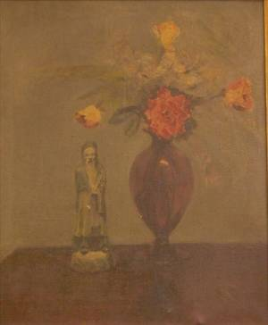 Framed Oil on Canvas Still Life with Flowers and Oriental Figurine