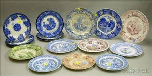 Ten Assorted English Transfer Staffordshire Plates and Seven Flow Blue Plates
