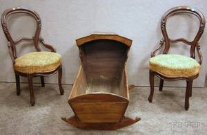 Two Victorian Upholstered Carved Walnut Parlor Side Chairs and a Pine Dovetailconstructed Hooded Rocking Cradl
