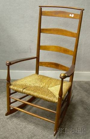 Shaker Production Maple Armrocker with Woven Rush Seat