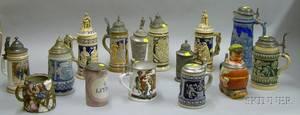 Fifteen German Steins and a Memoryware Mug
