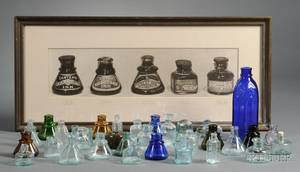 Collection of Thirty Glass Inkwells a Carters Cobalt Blue Glass Master Ink Bottle and a Framed Carters Ink