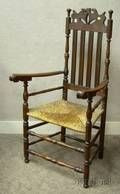 Maple and Birch Bannisterback Armchair with Woven Rush Seat