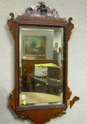 Chippendale Carved Mahogany Scroll Mirror