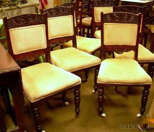 Set of Six Victorian Upholstered Carved Walnut Dining Side Chairs