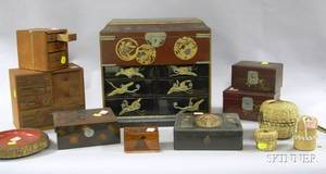 Four Japanese Lacquer Boxes a Collectors Chest Three Wooden Trinket Boxes a Bowl and Three Assorted Small