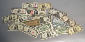 Group of US paper currency