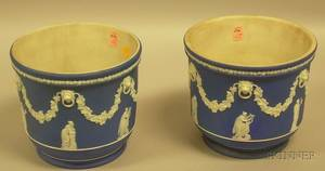 Pair of Wedgwood Dark Blue Jasper Dip Cache Pots