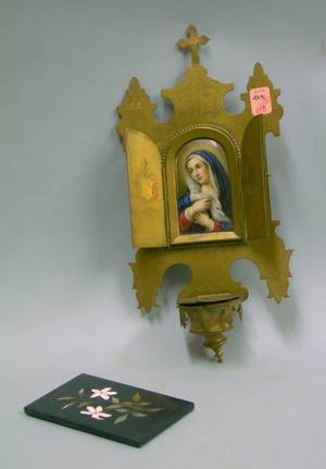 Small Italian Pietra Dura Floral Plaque and an Italian Brass Wall Holy Water Font with Inset Handpainted Portrait on Porcelain Depicti