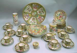 Group of Chinese Export Rose Medallion and Rose Mandarin Porcelain Tableware
