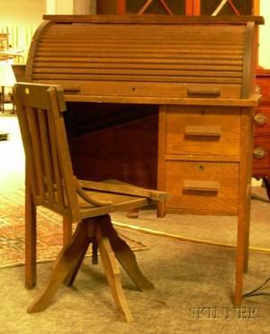 Childs Oak Rolltop Desk with Swivel Desk Chair