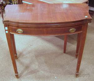 Federalstyle Inlaid Mahogany and Mahogany Veneer Bowfront Card Table