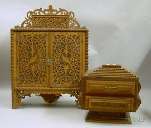 Tramp Art Notchcarved Wooden Footed Jewelry Box and a Wooden Fretwork Wall Wall Cabinet