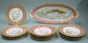 Thirteenpiece Haviland Limoges Transfer Decorated Porcelain Fish Set