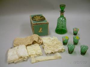 Small Decoupagedecorated Lidded Paper Box with Lace Fragments and a Sixpiece Silverresist Decorated Green G