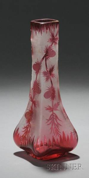 Acidetched Cranberry CuttoFrosted Colorless Glass Vase