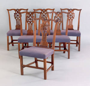 Set of six English Chippendale dining chairs 19th c