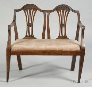 Italian Neoclassical Carved Fruitwood Double Chairback Settee and Four Matching Cha