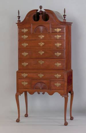 Massachusetts Queen Anne walnut high chest ca 1765