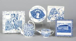 Six Wedgwood Blue Transfer Printed Items