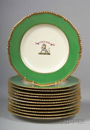 Set of Twelve English Porcelain Welsh Armorial Plates