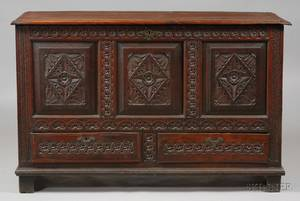 English Jacobean Style Carved Oak Blanket Chest