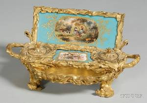 French Porcelain and Gilt Bronze Standish