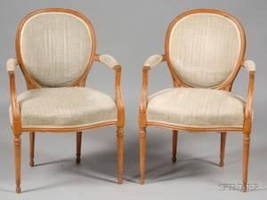 Pair of Louis XVI Style Beechwood Fauteuils en Cabriolet