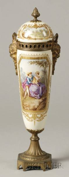 Sevresstyle Gilt Metal Mounted Porcelain Urn