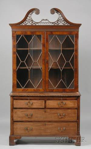 George III Style Mahogany Bookcase and Chest
