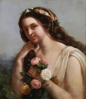 Continental School 19th Century Portrait of a Young Woman with Flowers