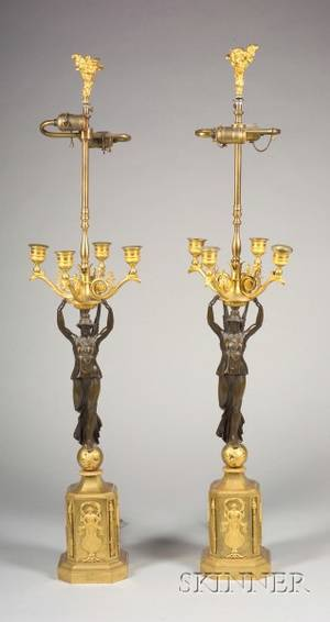 Pair of Empire Parcel Gilt Bronze Four Light Candelabra